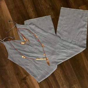 Zara chambray jumper with spaghetti straps